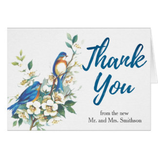 Vintage Floral Birds (Photo Inside) Blue Thank You Card