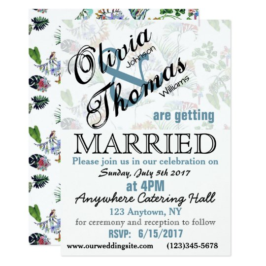 Vintage Floral Birds Wedding Invitation Custom