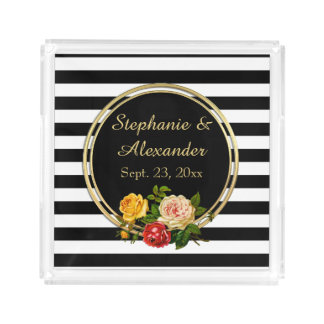 Vintage Floral Black and White Stripe Personalized Acrylic Tray