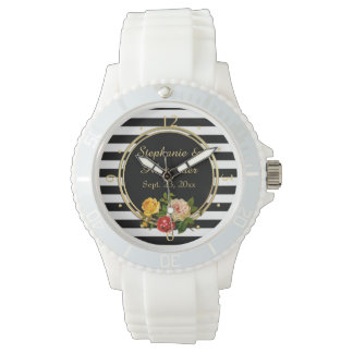 Vintage Floral Black and White Stripe Personalized Wrist Watches