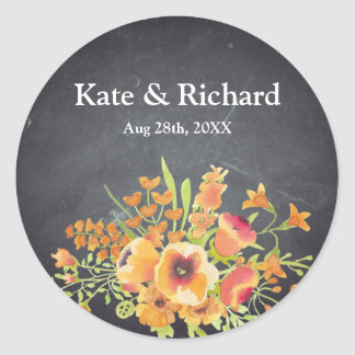 Vintage Floral Black Chalkboard Wedding Round Sticker