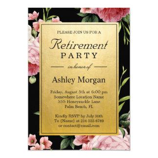 Vintage Floral Black Gold Classy Retirement Party Card