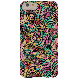 Vintage Floral Black Palsy On Colorful Background Barely There iPhone 6 Plus Case