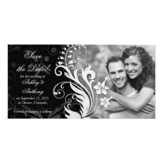 Vintage Floral Black White Wedding Save the Date Photo Cards