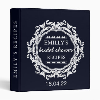 Vintage Floral Blue Bridal Shower Vinyl Binders