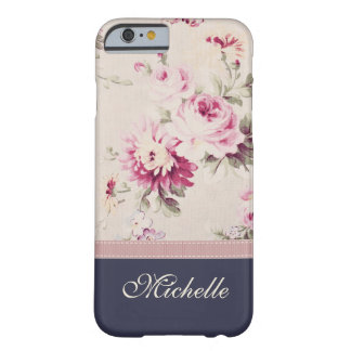 Vintage Floral Blue Name Barely There iPhone 6 Case