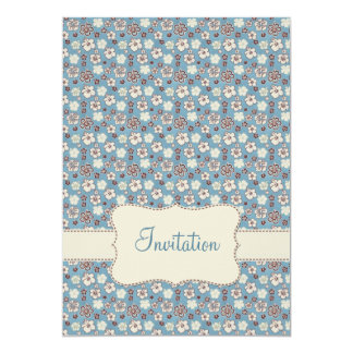 Vintage Floral Blue Pattern Birthday Invitation