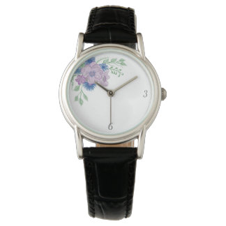Vintage Floral Blue Watercolor Elegant Stylish Watch