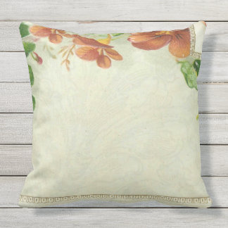 Vintage Floral Border Outdoor Pillow