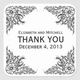 Vintage Floral Border Thank You Stickers