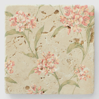 Vintage floral botanical coaster country rustic