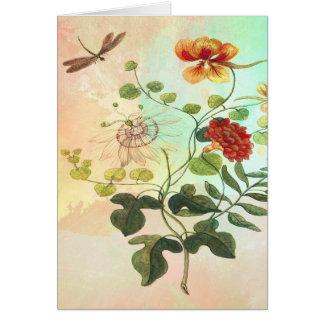 Vintage Floral Botanical Illustration Flowers Art Card
