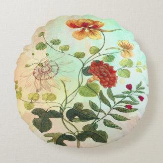 Vintage Floral Botanical Illustration Flowers Art Round Pillow