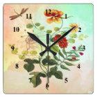 Vintage Floral Botanical Illustration Flowers Art Square Wall Clock