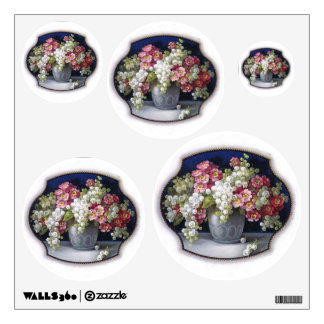 Vintage Floral Bouquet Dots Circles Wall Decal Set