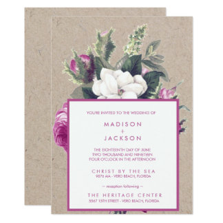 Vintage Floral Bouquet Recycled Paper Wedding Card