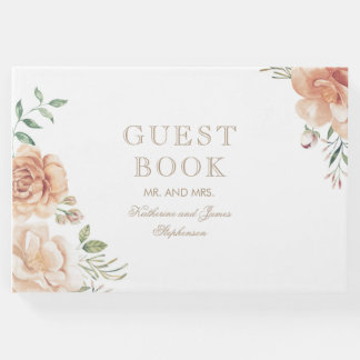 Vintage Floral Bouquet Watercolor Wedding Guest Book