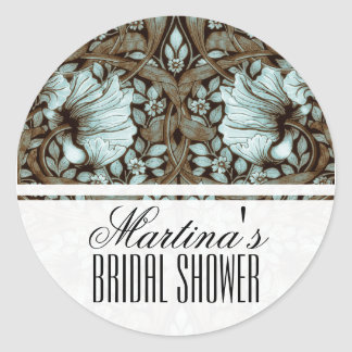 Vintage Floral Bridal Shower Round Sticker