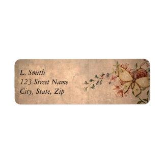 Vintage Floral Butterfly Return Address Label
