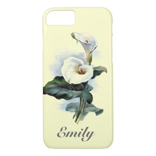Vintage floral Calla Lily Monogram Cute iPhone 7 Case