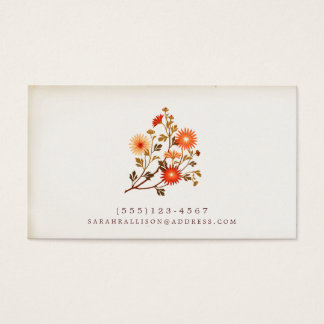 Vintage Floral  Calling Card Red Orange Flowers