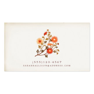 Vintage Floral  Calling Card Red Orange Flowers Double-Sided Standard Business Cards (Pack Of 100)