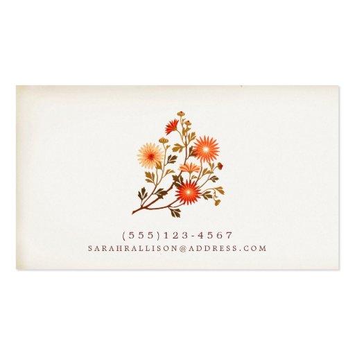 Vintage Floral  Calling Card Red Orange Flowers Business Card Template