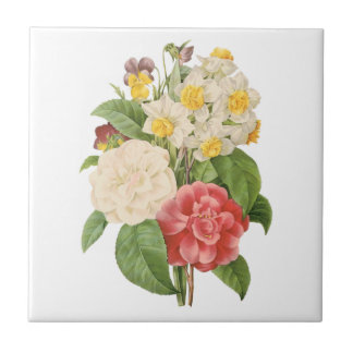 Vintage Floral Camelia Daffodil Flowers by Redoute Ceramic Tiles