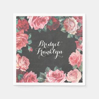 vintage floral chalkboard wedding disposable napkins