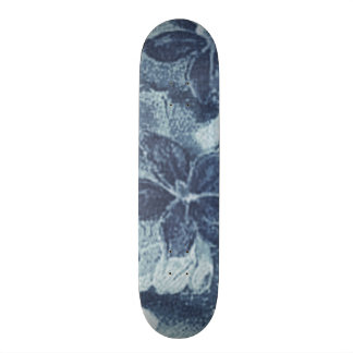 Vintage Floral Charcoal Gray Blue Violets Flowers Skate Board Decks