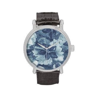 Vintage Floral Charcoal Gray Blue Violets Flowers Wristwatches