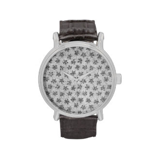 Vintage Floral Charcoal Gray  Violets Flowers Watch
