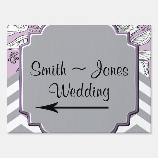 Vintage Floral Chevron Posh Wedding Direction Sign