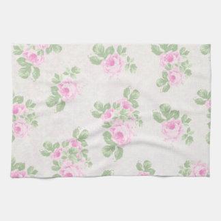 Vintage floral chic pink roses kitchen towel