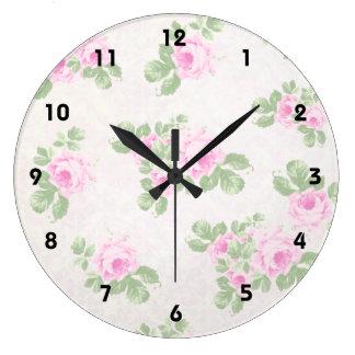 Vintage floral chic pink roses large clock