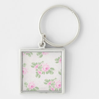 Vintage floral chic pink roses Silver-Colored square keychain