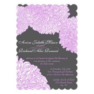 Vintage Floral Chrysanthemum Lavender Wedding Card