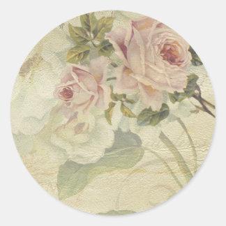vintage floral classic round sticker