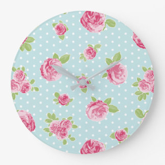 Vintage Floral Clock Shabby Chic Roses