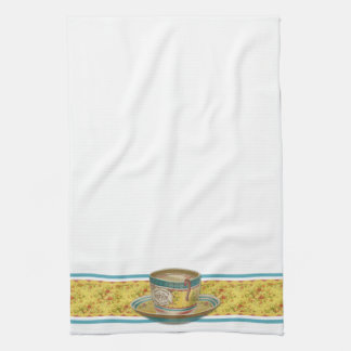 Vintage Floral Coffee Cup Kitchen Towel