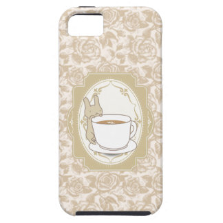 Vintage Floral Coffee & Rabbit iPhone 5 Case