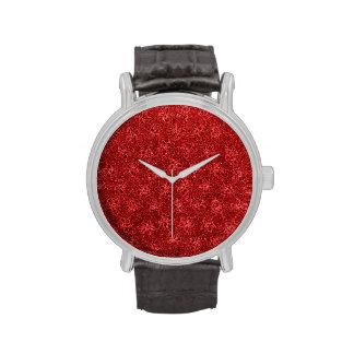 Vintage Floral Cranberry Red Violets Flowers Wristwatch