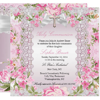 Vintage Floral Cross First Communion Pink B Card