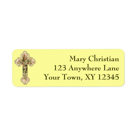 Vintage Floral Cross Return Address Label