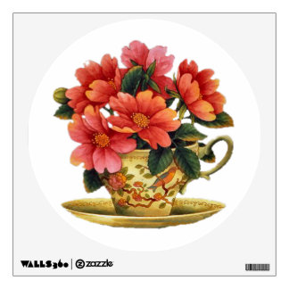Vintage floral cup and saucer Wall Decal