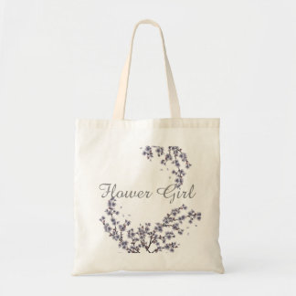 Vintage Floral Custom Flower Girl Wedding Tote Bag