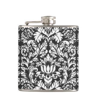 Vintage Floral Damask Black and White Flask