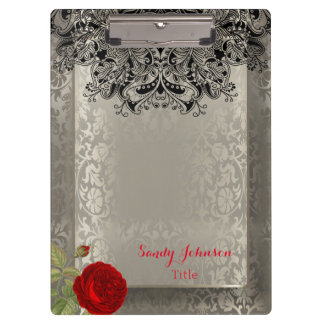 Vintage Floral Damask in Antique Silver Clipboard