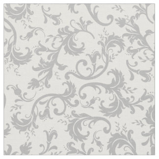 Vintage Floral Damask White Gray Pattern Fabric