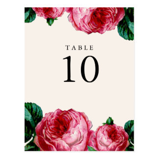 VINTAGE FLORAL DECOUPAGE TABLE NUMBER POST CARDS